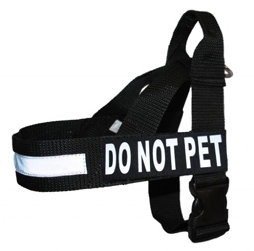 Pet Not Harness - DO NOT PET Nylon Strap Service Dog Harness No Pull Guide Assistance comes with 2 reflective DO NOT PET removable patches. Please measure your dog before ordering.