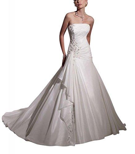 GEORGE Hinter Wunderschoene BRIDE Brautkleid Kostbare Elfenbein Taft Brautkleider Hochzeitskleider TCTrqfvw