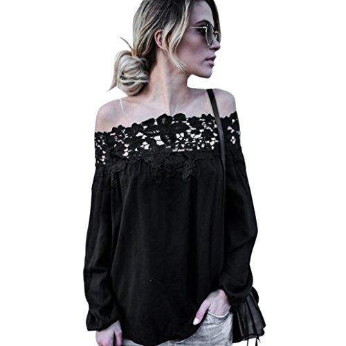 Amlaiworld Femmes d'été hors de l'épaule Dentelles à manches longues Blouse Casual t-shirt Noir