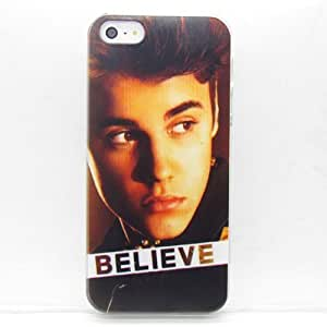 Cool Justin Bieber Pattern Hard Snap-on Back Case Cover Skin + Random keychain with 3.5mm Anti-Dust Dustproof Dust Caps Gift For iPhone 5c