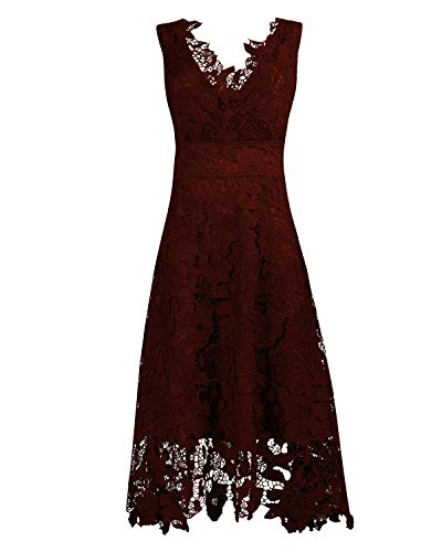 KIMILILY Women's V Neck Elegant Floral Lace Swing Bridesmaid Dress (X-Large, Wine) (How To Make A Fra)