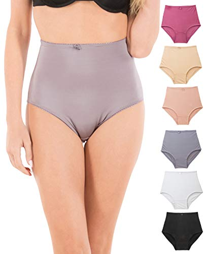 Shapers Satin Panty (Barbra's 6 Pack Solid Satin High Waist Full Coverage Brief Underwear)