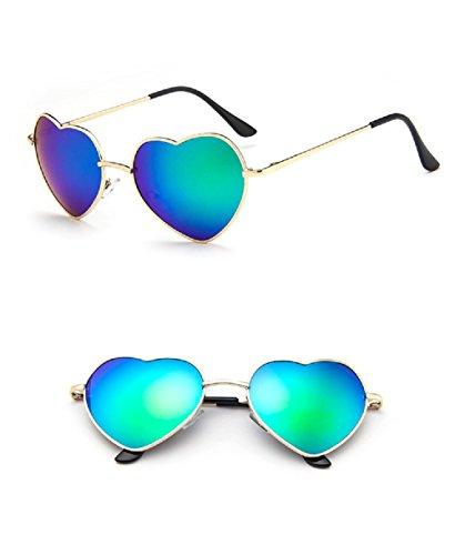 Chezi Women's Metal Colorful Iridium Coated Lens Heart Sunglasses (gold, green - Sunglasses Mirror Coated