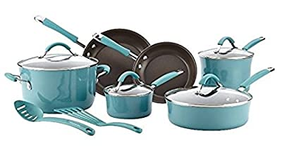 12 Piece Premium Cookware Set Featured on Food Network Nonstick Hard Porcelain Enamel, Agave Blue, Featured on Food Network