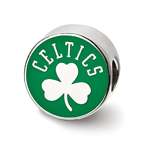 LogoArt NBA Boston Celtics Enameled Charm Bead in Sterling Silver