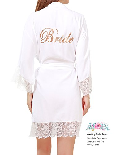 Pure Color Lace (GoldOath Women's Pure Color Cotton Short Kimono Robes With Gold Glitter For Bridesmaid and Bride)
