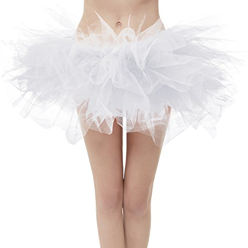 Dresstore Women's Vintage 5 LayeWhite Tulle Tutu Puffy Ballet Bubble Skirt White Plus Size