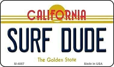 TNND Surf Dude California State License Plate License plate sign 6x12 inches