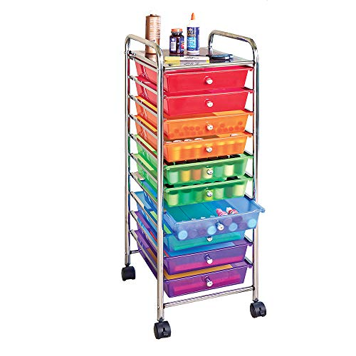 Seville Classics 10-Drawer Organizer Cart, Multi Color (Rainbow 8 Drawer Rolling Chest By Recollections)