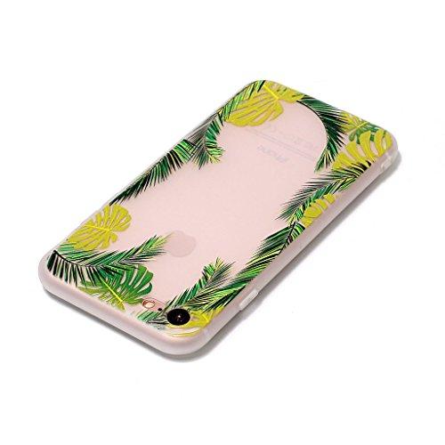 iPhone 7 Coque,3D Feuilles de noix de coco Premium Gel TPU Souple Silicone Transparent Clair Bumper Protection Housse Arrière Étui Pour Apple iPhone 7 + Deux cadeau