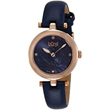 Burgi Women's BUR128BU Diamond Accented Flower Dial Rose Gold & Blue Leather Strap Watch