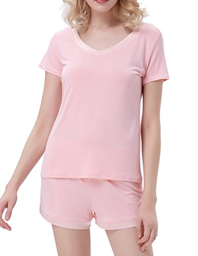 Basic Tunic Sleepwear Sets for Women V-Neck Short Sleeve Top Pink Size M ZE41-3 (Shorts Piece Three Cotton)