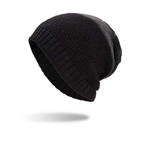 Argyle Winter Hat - iYBUIA Women Men Warm Baggy Weave Crochet Winter Wool Knit Ski Beanie Skull Caps Hat(Black,One Size)