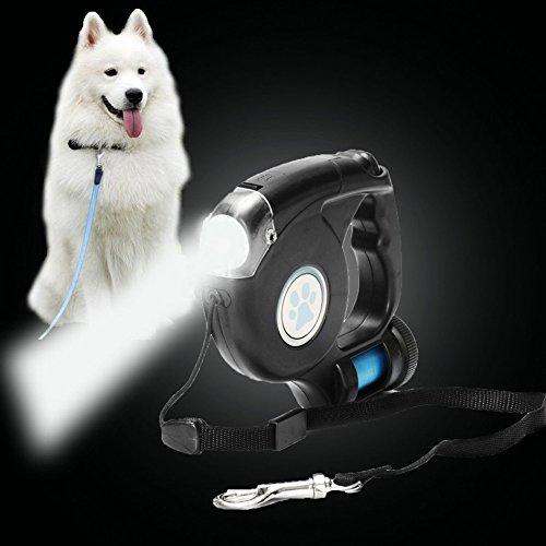 SweetDog Heavy Duty Retractable Dog Leash with Bag Dispenser and Flashlight,3 in 1 Dog Walking Leash 26 Feet, Non-Slip Pet Leashes (Black) (Leash Retractable Flashlight Dog)