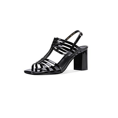 DALL Escarpins Ly-703 Confortable Et Stable Grossier Talon Chaussures Pour Femmes Open-toed Talons Hauts Sandales Printemps Et Été 8cm De Haut (Couleur : Noir, taille : EU 35/UK 3.5/CN 35) Noir