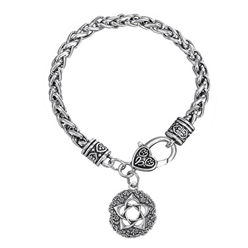 Rose Pentacle of the Goddess Pewter Charm Flower Bracelets Wiccan Jewelry for -