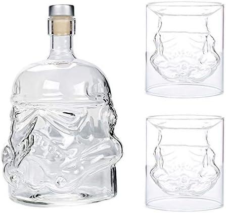 JUSSES Decantador de whisky de cristal con tapón de corcho, botella de 750 ml + 2 vasos