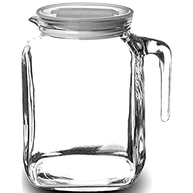 Paksh/Bormioli Rocco Frigoverre Hermetic Seal Glass Pitcher With Lid and Spout, Use Glass Water Pitcher, for Homemade Juice, Iced Tea Pitcher, or Glass Milk Bottles, 68 Ounce
