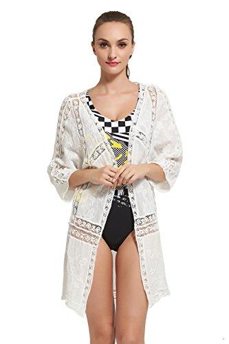 Jeasona Women's Swimsuit Cover Up, White, Crochet Bathing Suit Bikini Cardigan (Open Front Swimsuit Cover Up)