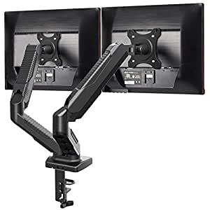 Dual Monitor Stand - Monitor Desk Mount with Swivel & Tilt, Adjustable Monitor Riser with Grommet Installation, C Clamp, Cable Management, Gas Spring Monitor Arms for 15 to 27 inch LCD Screens