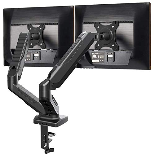 Dual Monitor Stand - Monitor Desk Mount with Swivel & Tilt , Adjustable Monitor Riser with Grommet Installation , C Clamp , Cable Management , Gas Spring Monitor Arms for 15 to 27 inch LCD Screens