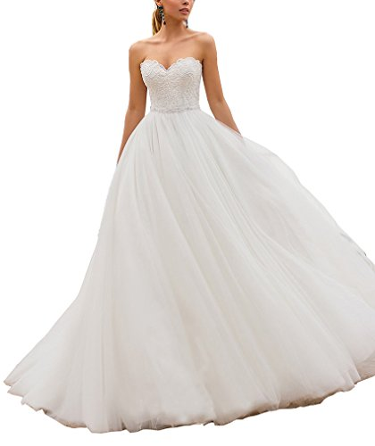 Nicefashion Women's Stunning Sweet Beaded Lace Long Puffy Tulle Beach Wedding Dress Lace-up Bridal Gown White US6 ()