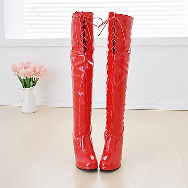 5 White Boots amp;Amp; UK10 The 5 For Fashion Over Red Party Knee Round US12 EU45 Shoes Winter Women'S Evening CN47 Toe Black Boots Patent Boots RTRY Leather YwR4qACx