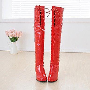 RTRY Charol Zapatos De Mujer Invierno Botas Botas De Moda Puntera Redonda Sobre La Rodilla Botas Para Parte &Amp; Noche Blanco Negro Rojo US12.5 / EU45 / UK10.5 / CN47
