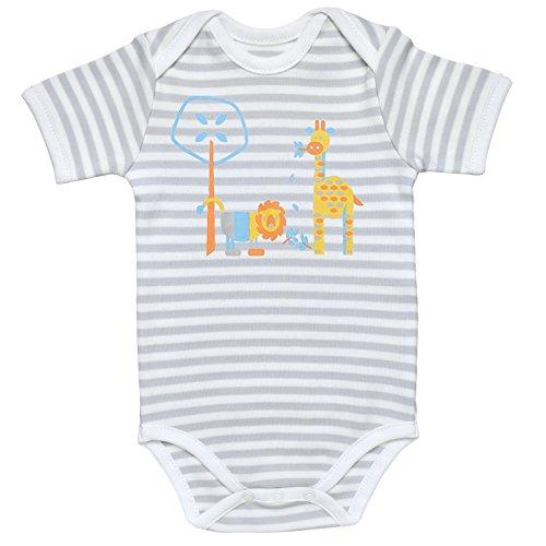 Under the Nile Baby Boy Lap Shoulder Bodysuit Size 6-9M Grey Stripe Organic Cotton with Bright ()