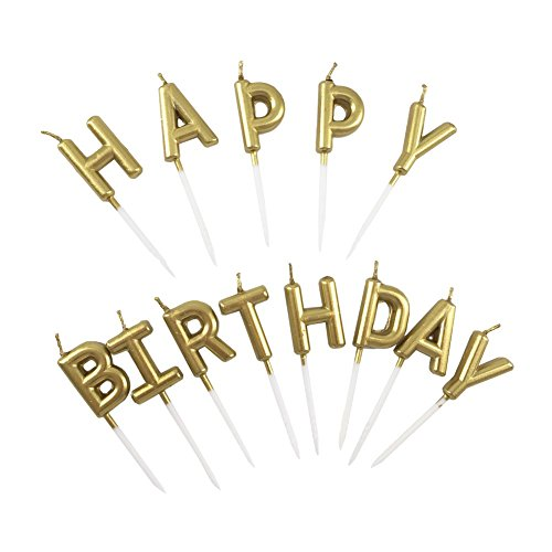 Beurio Birthday Letter Cake Candles Gold