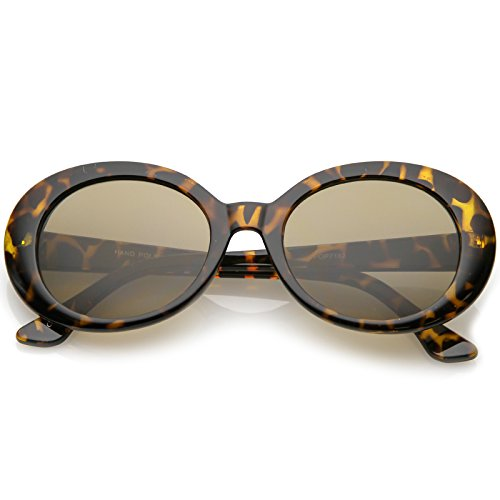 sunglassLA - Retro Oval Sunglasses Tapered Arms Neutral Colored Round Lens 53mm (Tortoise/Brown) from sunglassLA