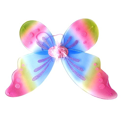 BOBORA Fairy Princess Butterfly Costume Dress-up Wings Halloween Costume (Rainbow Fairy Costume)