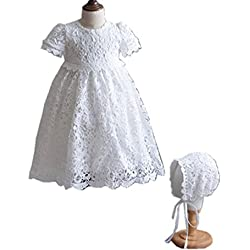 HX Baby Girl's Princess Lace Short Sleeve Christening Baptism Gowns Long Dress with Bonnet (18M/18-24 Months, Ivory)