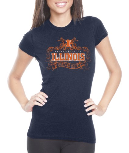 NCAA Illinois Illini Women's Prius2 Long Body Classic T-Shirt (Navy, Large) (Classic Shirt Illinois)