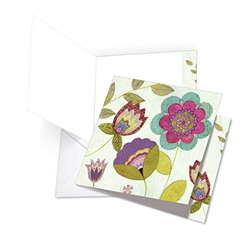 Patterned Envelopes (JQ4246CTYG Jumbo Thank You Square-Top Card: Patterned Petals Featuring Bright and Cheery Patterned Floral Images, with Envelope (Extra Large Size: 8.5