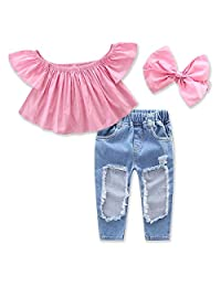 Puseky 3pcs/set Kid Baby Girls Off Shoulder Ruffle Shirt + Hole Jeans+Headband Outfits Set (Color : Pink, Size : 6Y-7Y)