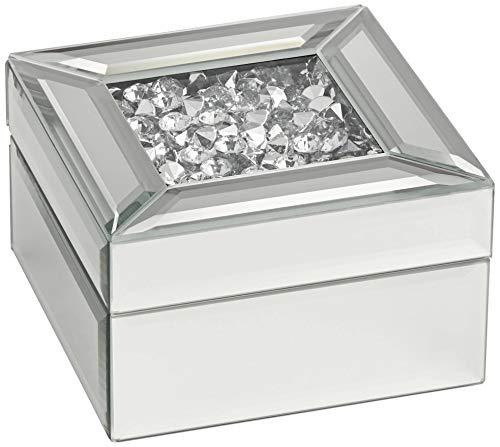 Dahlia Studios Spritz Small Mirrored Jewelry Box with Beads Inside