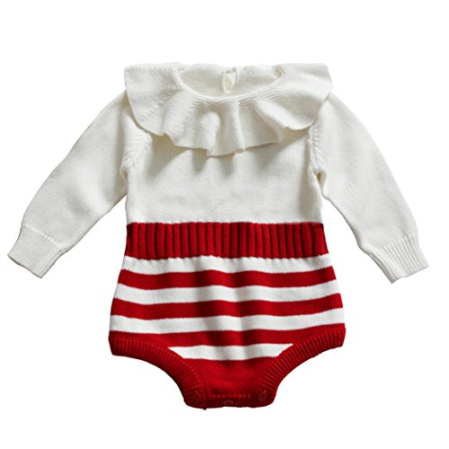 Funnycokid Infant Baby Girl Cute Striped Romper Sweater Fall Winter Long Sleeve Overall Bodysuit 0-6 Months Wash Wool Clothes