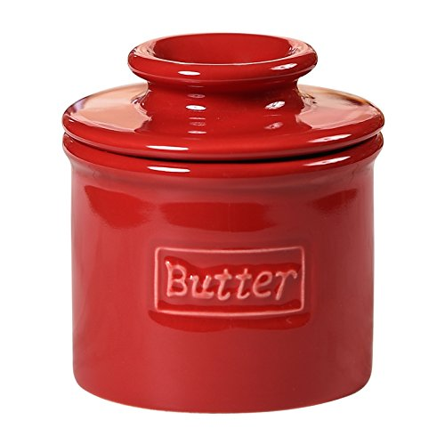 The Original Butter Bell Crock by L. Tremain, Cafe Retro Collection - Maraschino Red (Serving Crock)