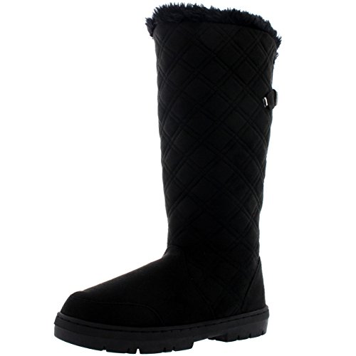 Holly Womens Quilted Twin Strap Back Tall Buckle Winter Snow Rain Boots Black