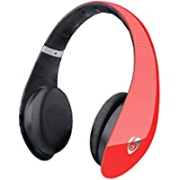 Labvon Bluetooth Noise Cancelling Headphones, Up to 106dB/mW of Sensitivity, Built in Mic Comfortable Portable Lightweight Headsets for Travel Work TV Computer Phone, Red