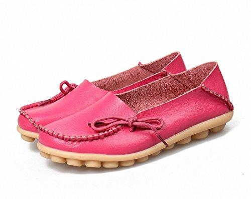Vrouwen Loafer Schoenen Casual Wandelschoenen Plat Rijden Schoenen Slip Op Mocassin Bootschoenen Perzik Rood