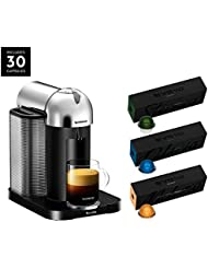 Nespresso Vertuo Coffee and Espresso Maker by Breville, Chrome with BEST SELLING VERTUOLINE COFFEES INCLUDED