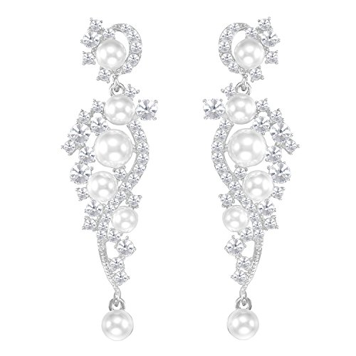 LILIE&WHITE Women's Austrian Crystal Simulated Pearl Bridal Dangle Earrings For Brides and Weddings -