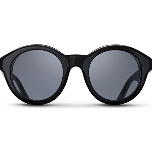 Triwa Women's Grace Round Sunglasses, Black & Green Turtle Temple Tips, 55 - Triwa Sunglasses