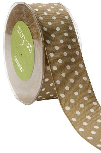 May Arts 1-1/2-Inch Wide Ribbon, Olive Grosgrain Polka Dot