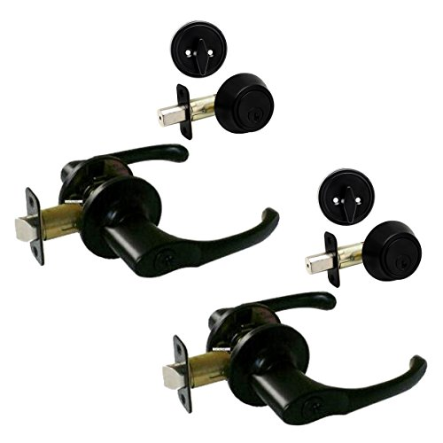 2 - Arlington Matte Black Entry Lever with Matching Single Cylinder Deadbolt Combo Packs Keyed Alike (We Key Lock Orders Alike for Free) ()