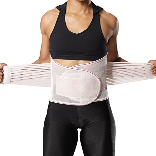 DARCHEN Lower Back Brace Back Support Belt for Women and Men Back Brace Posture Corrector with Dual Adjustable Straps and 5 Body Curved Stays (Beige Red, 3XL Belly: 31-33 inches)