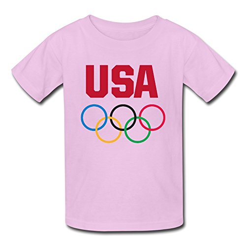Price comparison product image THBYU Kid's USA 2016 The Olympic Games Short Sleeve Tee Shirts Pink L