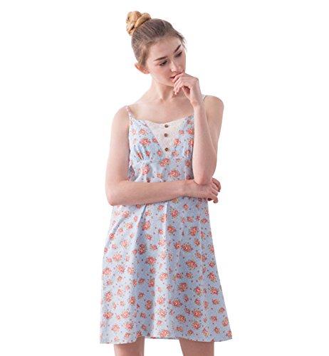 Surenow Camisón Pijama Ropa Interior de Dormir de Tirantes de Algodón en Casa para Mujer Azul